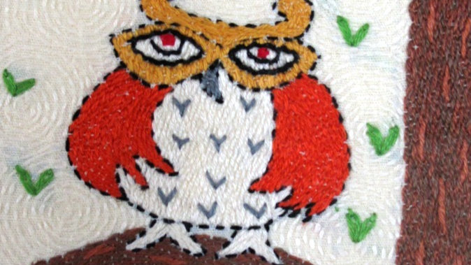 Wise Owl Hand Stitched Greeting Card