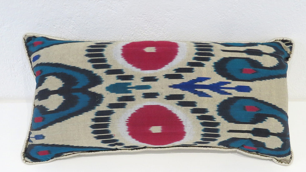 Large Silk ikat cushion cover with moire roundel design