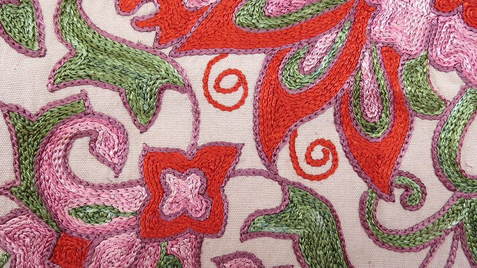 Suzani embroidered  flower bud cushion cover