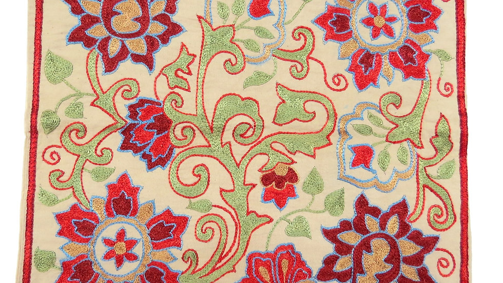 Suzani embroidered cushion cover with twining flowers
