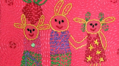 Pink Bunnies Hand Stitched Greeting Card