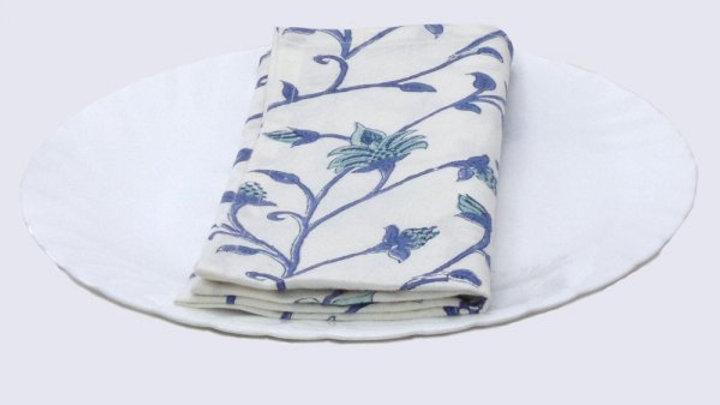 Napkins Block printed with blue  floral design - Set of 6