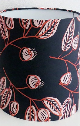 Australian Aboriginal Fabric Lampshade: Man-kumdalh (Black Plums)