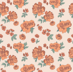 Peony fabric print design for Kindred Cl
