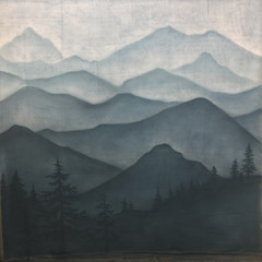 Mountains Mural on unstretched canvas