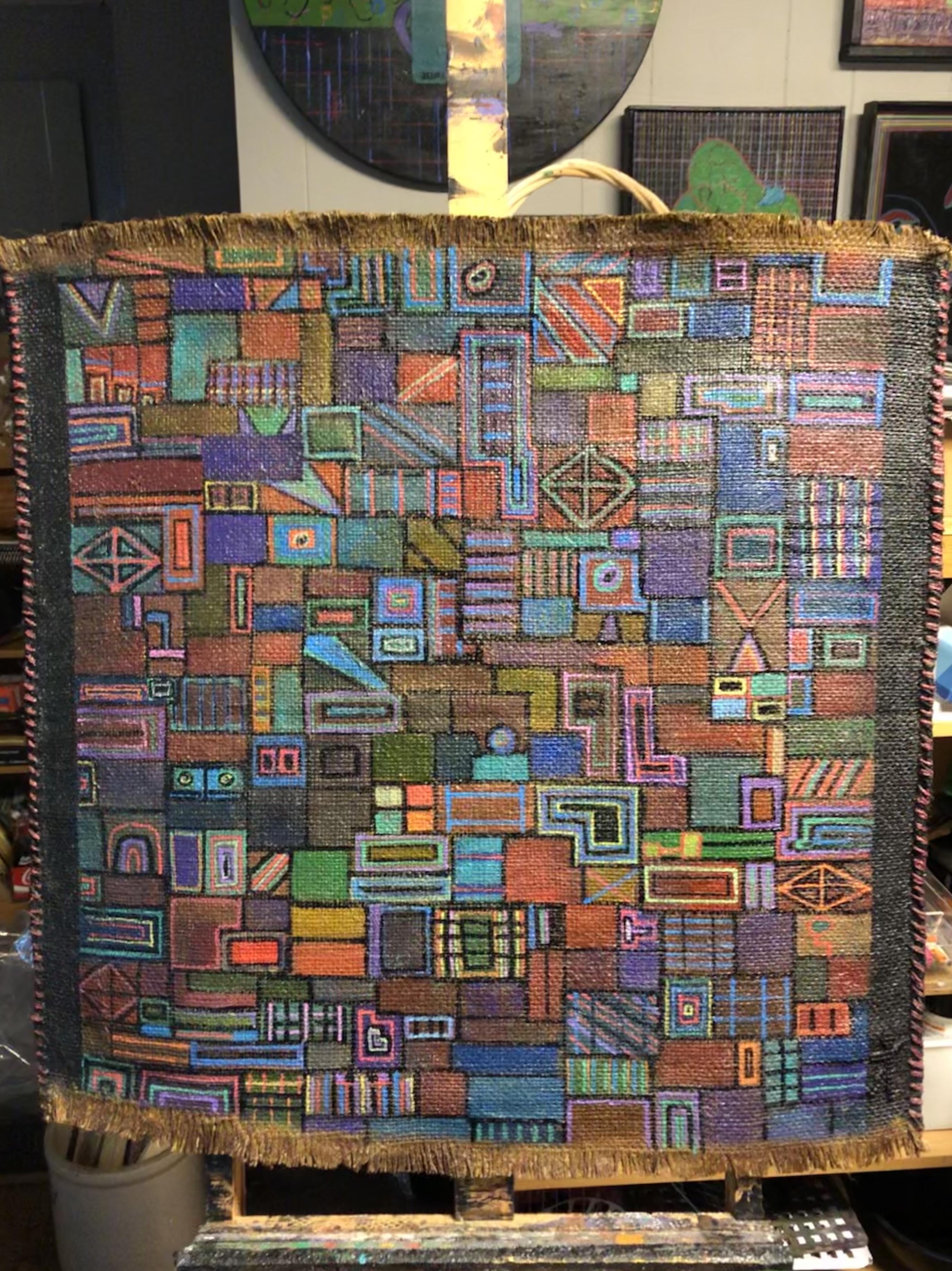 Overlapped 35x30 on Burlap