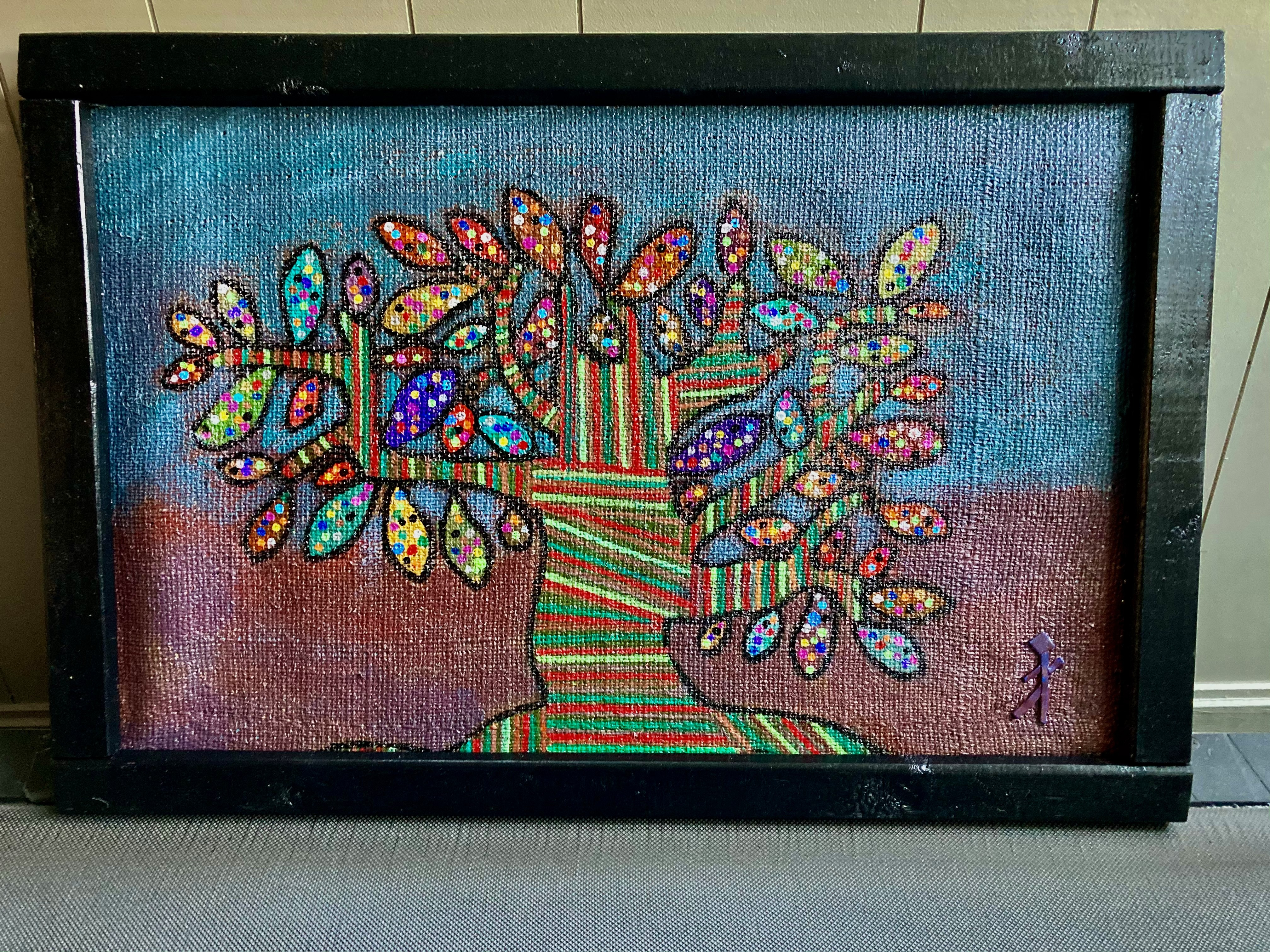 Dot's a Tree 17x27 Burlap (2)