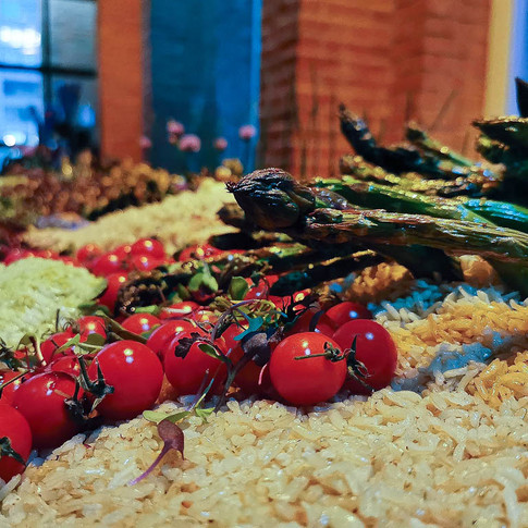 Opening reception for adelheid's show LOT X featured an edible garden of seasoned rices, raw and roasted veggies, and a junk food station coda.