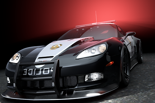 SuperVette Police_V3_C4D Rigged