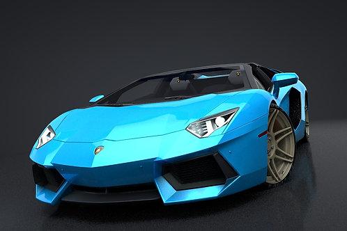 Lamborghini Aventador Roadster_C4D Rigged