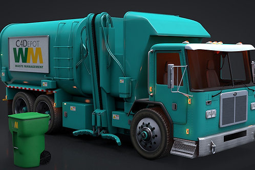 Garbage Truck_3D Model Rigged C4D