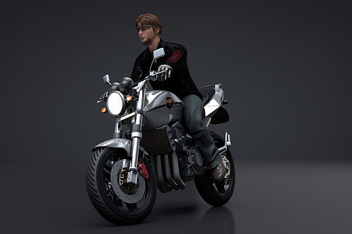 Sport Motorcycle with Rider_3D Model Rigged C4D