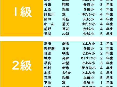 第399回2020年9月度「珠算級位」検定試験 合格発表。