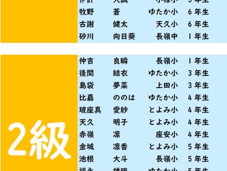 2019年5月度「珠算級位」検定試験 合格発表。