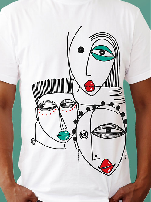 T-shirt AFIRIKA x OBOU / 3 têtes - White Edition