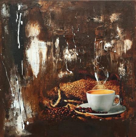 """""""Café"""" acrylic on canvas - 2018 - 60 x 60 (sold)"""