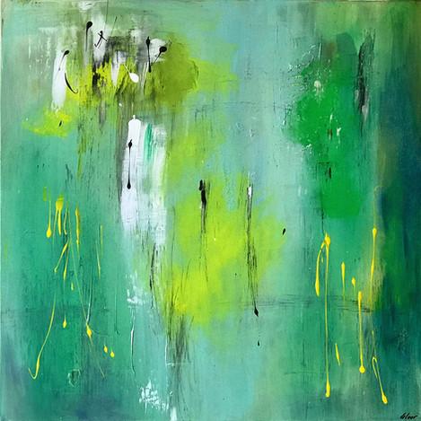 """""""Green"""" Acryl auf Leinwand - 2018 - 80 x 80 (ausgestellt in Baden)"""