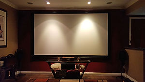 Well-decorated home theater with projector screen