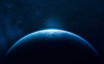 Blue Earth in the space. Colorful art. S