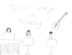 Young fan's drawing of AH performing
