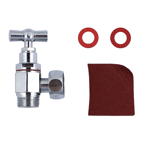 kit robinet WC tete potence 12x17 chrome joint fibre + toile émeri  LINSTAN