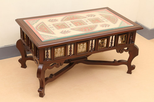 8bb5da4f82f This elegant center table has been made in TEAK WOOD. Beautiful Dhokra work  and Warli Handpainting has been done on the detachable wooden part which is  ...