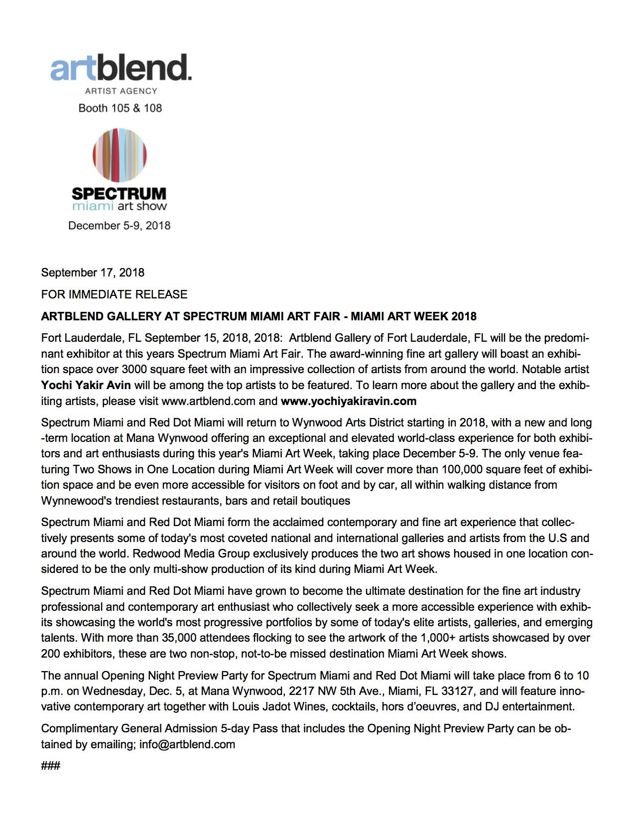ARTBLEND SM18 PRESS RELEASE Yochi Yakir