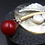 Thumbnail: Red Stem with Seed Pearl on Mother-of-Pearl Shell Pendant Brooch