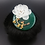Thumbnail: White Peony on Green Stone Pendant Brooch