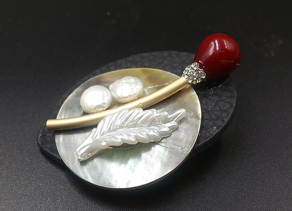 Red Stem with Seed Pearl on Mother-of-Pearl Shell Pendant Brooch
