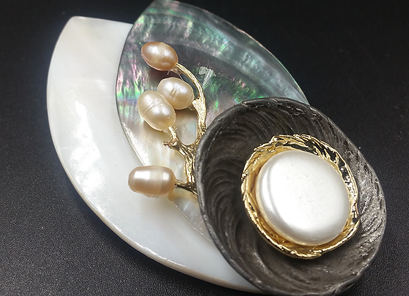 Oyster on Mother-of-Pearl and Shell Pendant Brooch