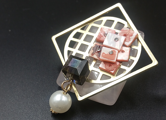 Pink Jade with Gold Square Abstract Pendant Brooch
