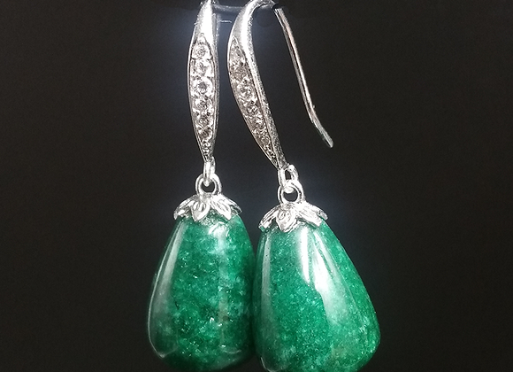 Royal Jade Green Stone Drop Earrings