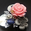 Thumbnail: Pink Rose with Mother-of-Pearl Leaves Pendant Brooch