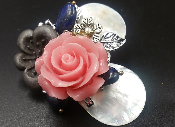 Pink Rose with Mother-of-Pearl Leaves Pendant Brooch