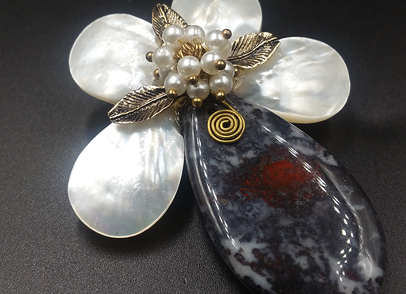 Marbled Grey Stone with Mother-of-Pearl Leaves Pendant Brooch