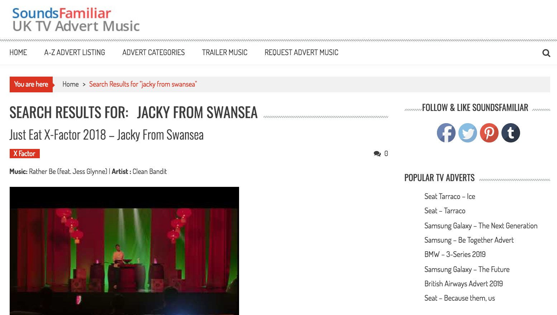 Sounds Familiar - Jacky TV advert