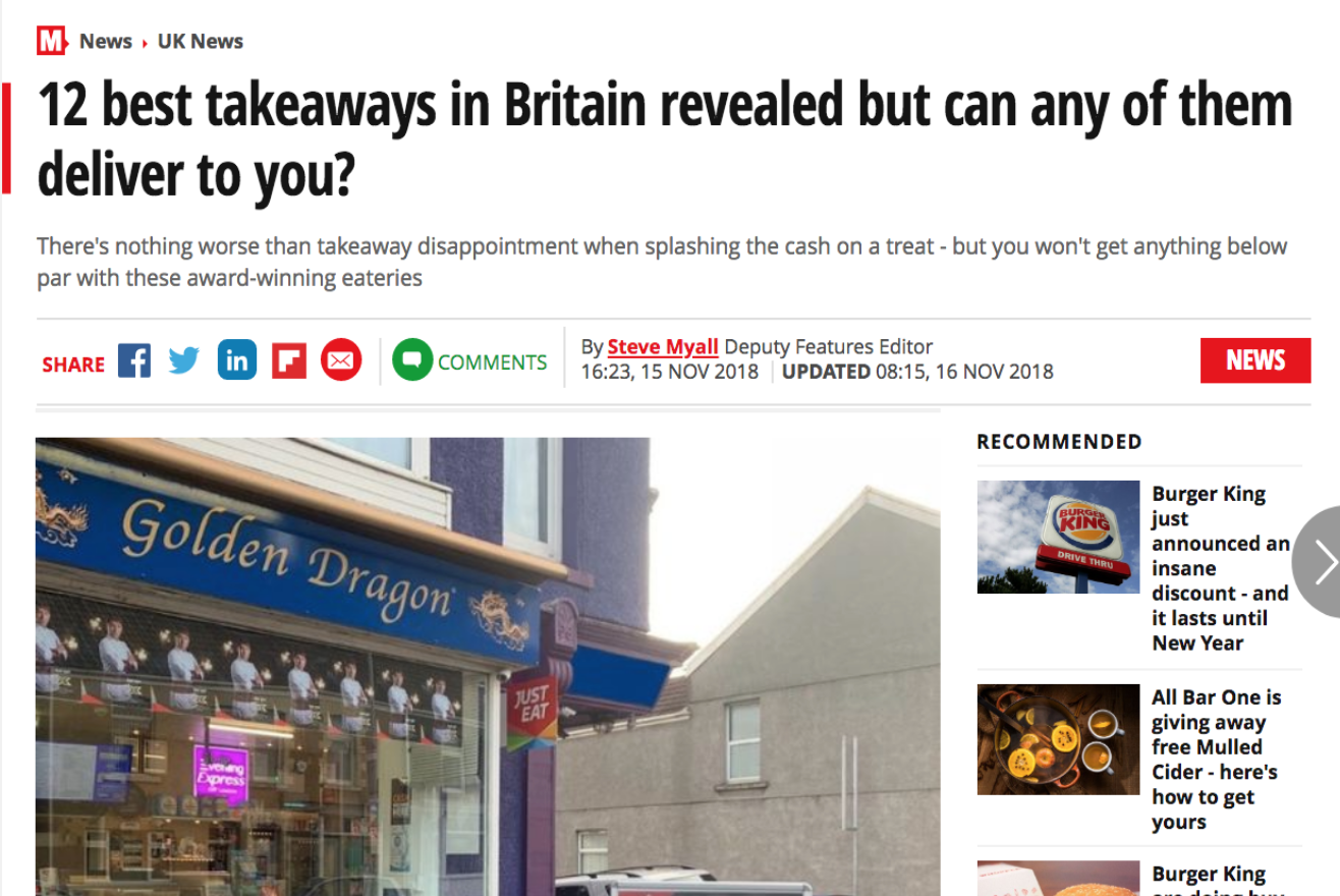Daily Mirror's 12th Best Takeaways in Britain