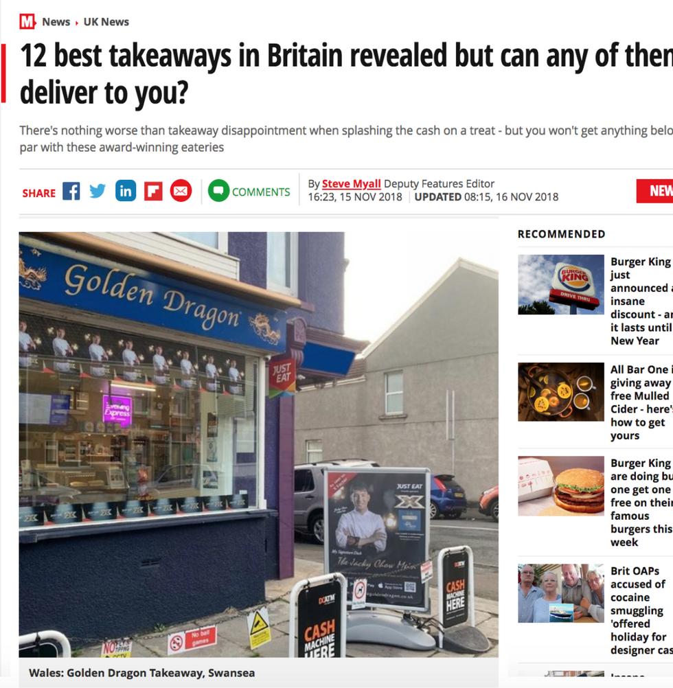 Daily Mirror's 12th Best Takeaways in Britain