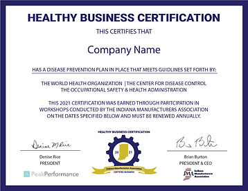 Healthy Bus Cert for Company to display.