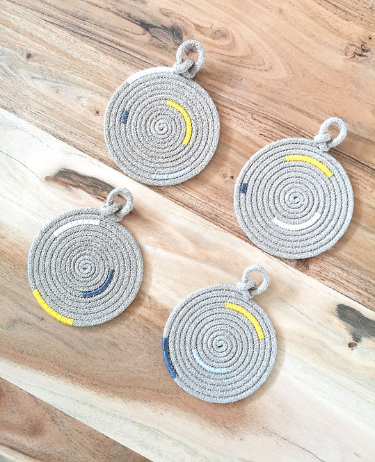 Knotted Hemp Loop Coasters