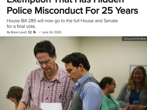 Our Bill Passes To Help Good Cops End Misconduct By Bad Cops