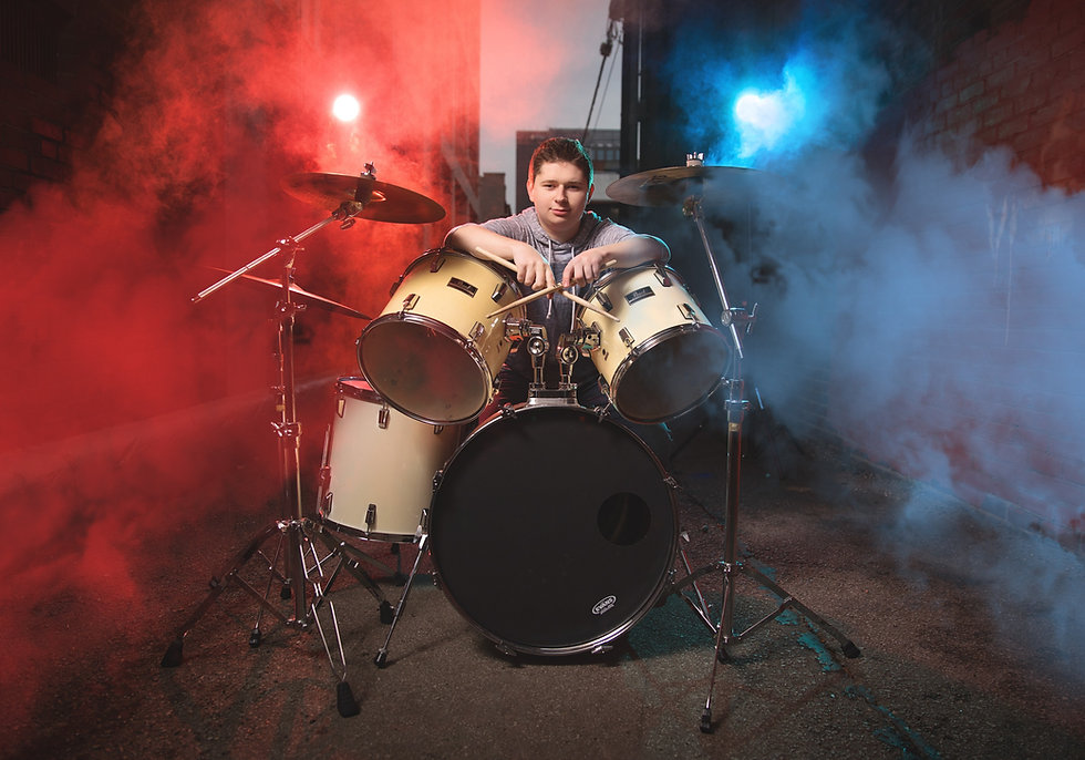 Senior Drummer Idea - Boy in Louisville with Smoke