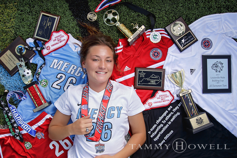 senior portrait with awards