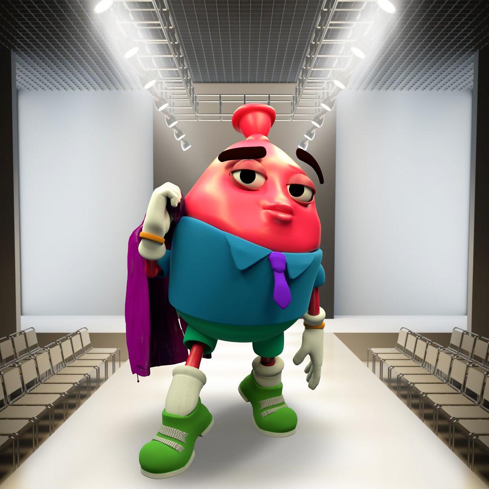 3D Mascot Lium the Balloon from animation studio Lead Balloon Studios. London Fashion Week 2021