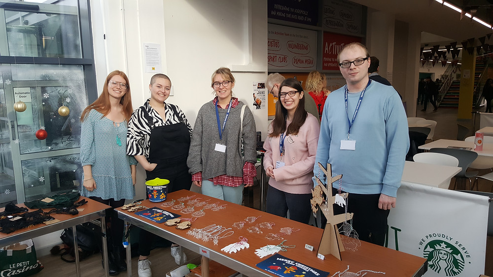 Co-Founder Lois Cockerill of Lead Balloon Studios with members of The Crucible at De Montfort University