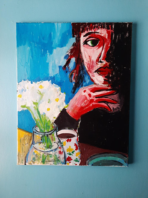 Woman with Coffee and Flowers