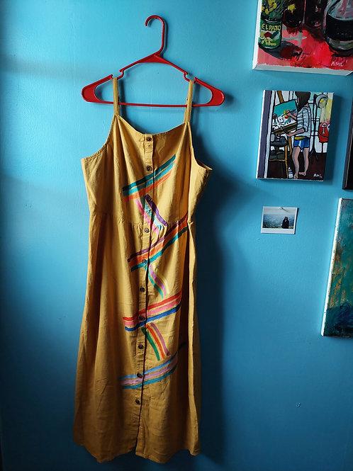 Stripe Button Midi Dress