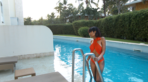 Sheena by the pool