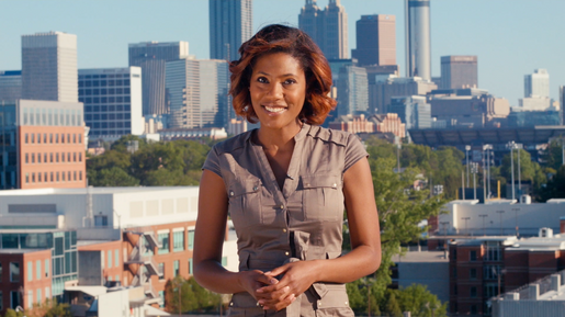 Sheena Wiley hosting the first episode of Georgia Box Office in Atlanta